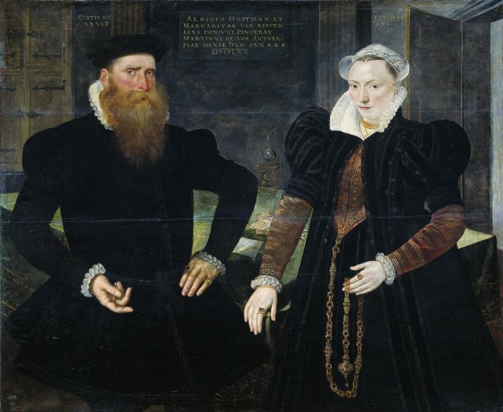 Portrait of Gillis Hooftman, Shipowner, and His Wife Margaretha Van Nispen, 1570 - Maarten de Vos
