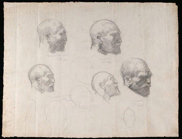Five studies of Vincent van Gogh, c.1886 - c.1888 - John Peter Russell