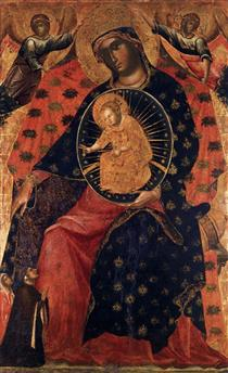 Madonna and Child with Two Votaries - Паоло Венециано