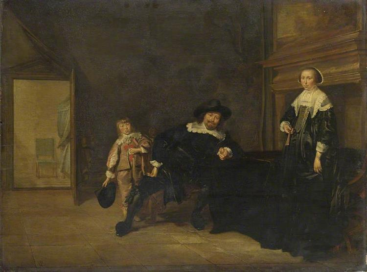 Portraits of a Man, A Woman and a Boy in a Room, 1640 - Pieter Codde