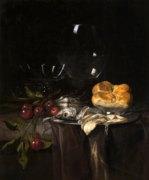 Still Life. Herring, Cherries and Glassware, 1680 - Willem van Aelst