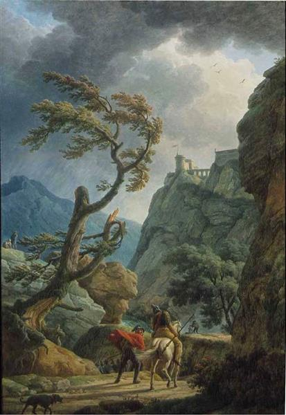 Vsoldiers in a Mountain Gorge, with a Storm, 1789 - Claude Joseph Vernet