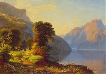 A View of a Lake in the Mountains - George Caleb Bingham