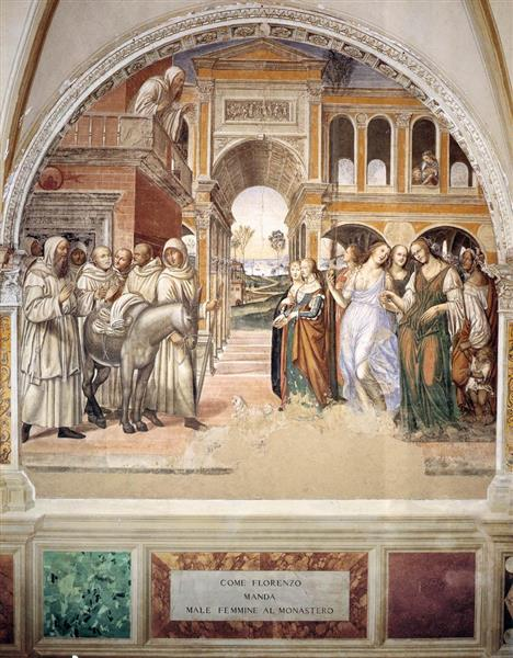 Life of St Benedict, Scene 19. Benedict Sends Away the Harlots, 1505 - 1508 - Il Sodoma