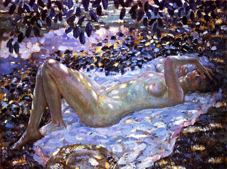 Nude in Dappled Sunlight, 1915 - Frederick Carl Frieseke