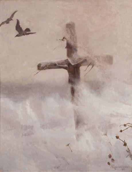 Cross in the blizzard, 1907 - Józef Chełmoński