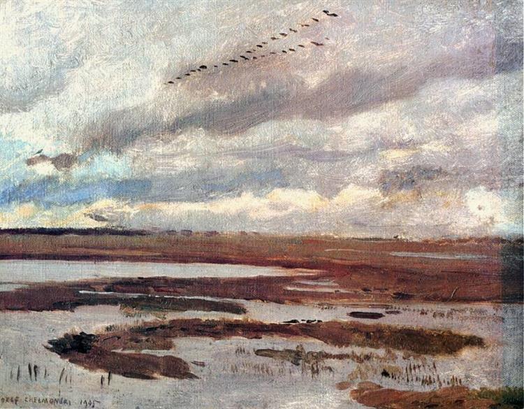 Cranes, Landscape from Meadow, 1905 - Józef Chełmoński
