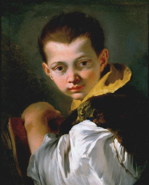 Boy Holding a Book (portrait of Lorenzo Tiepolo), 1750 - Giovanni Battista Tiepolo