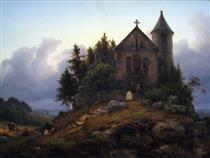 Chapel on the Edge of the Wood - Carl Friedrich Lessing