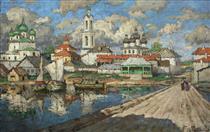 View of an Old Town - Konstantin Ivanovich Gorbatov