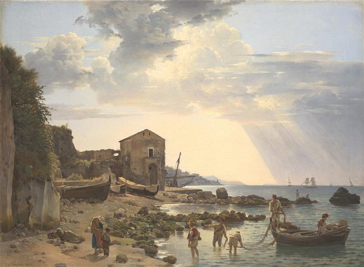 Small harbor in Sorrento overlooking the islands of Ischia and Procida, 1826 - Sylvester Shchedrin