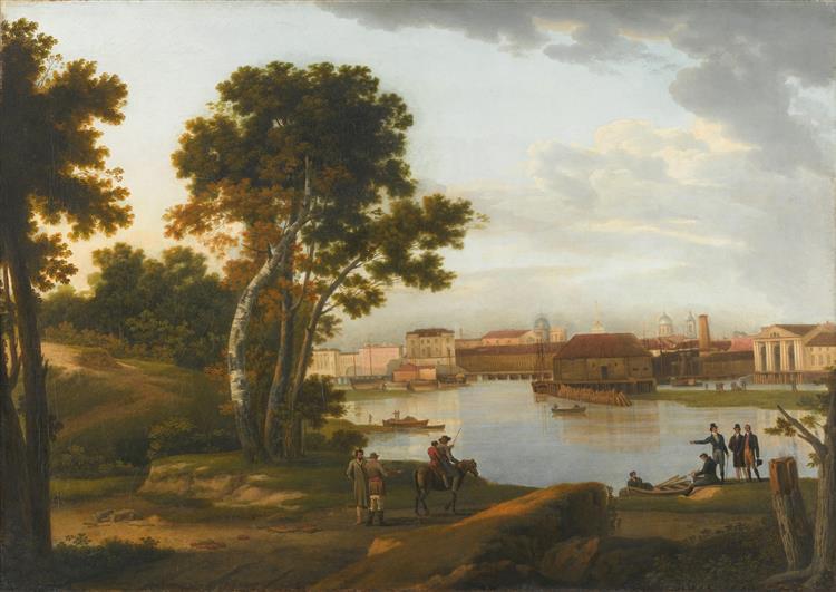 View from Petrovsky Island to Tuchkov Bridge and Vasilyevsky Island in St. Petersburg, 1815 - Silvestr Shchedrín