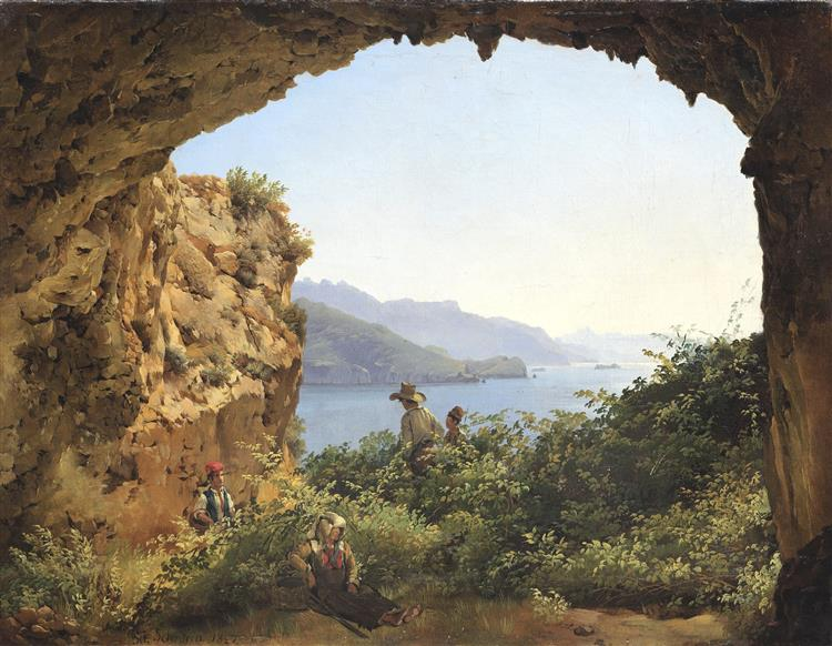 The grotto of Matromanio on the island of Capri, 1827 - Sylvestre Chtchedrine