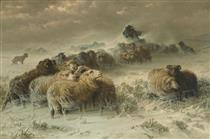 A Shepherd with His Flock in a Snowstorm - August Friedrich Schenck