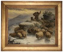Sheep and a Herder in a Winter Landscape - August Friedrich Schenck