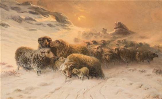 Sheep in Snow - August Friedrich Schenck