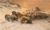 Sheep in Snow - August Friedrich Schenck