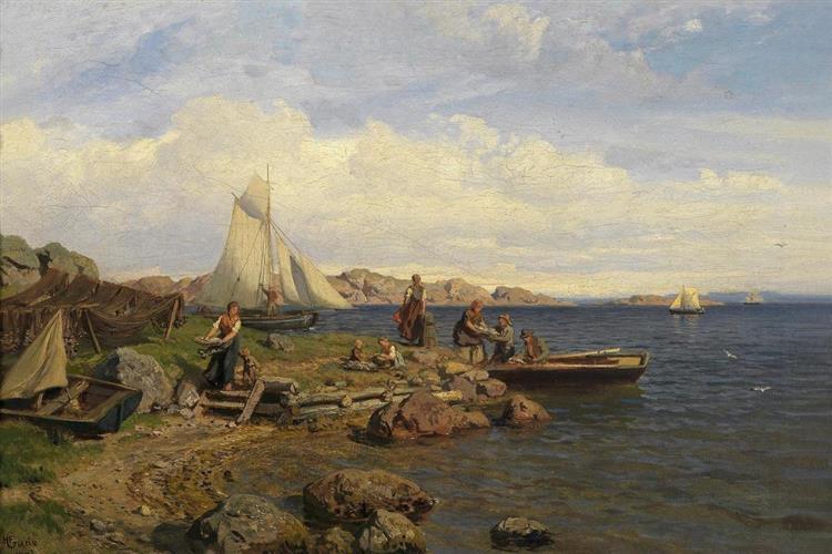 The Fishermen Arrive Onshore, 1878 - Hans Gude