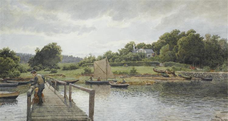 Fishing at Sølvkronen - Hans Gude