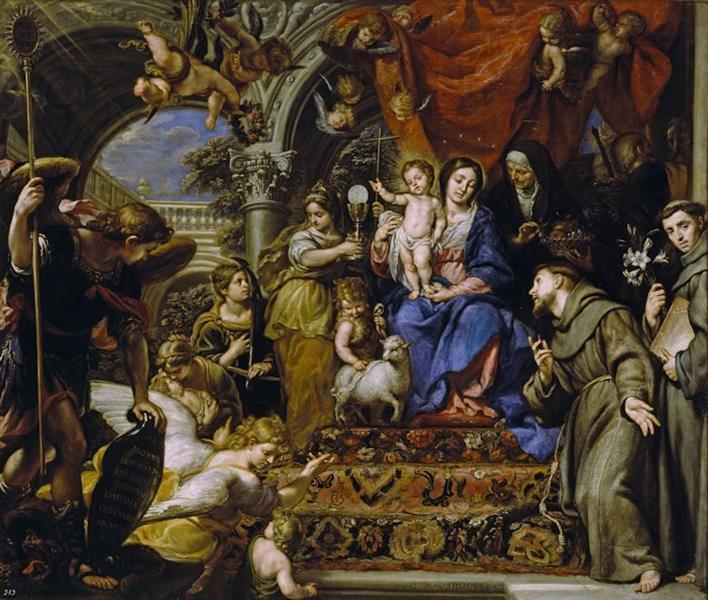 La Virgen con el Niño entre las Virtudes teologales y santos, 1669 - Claudio Coello