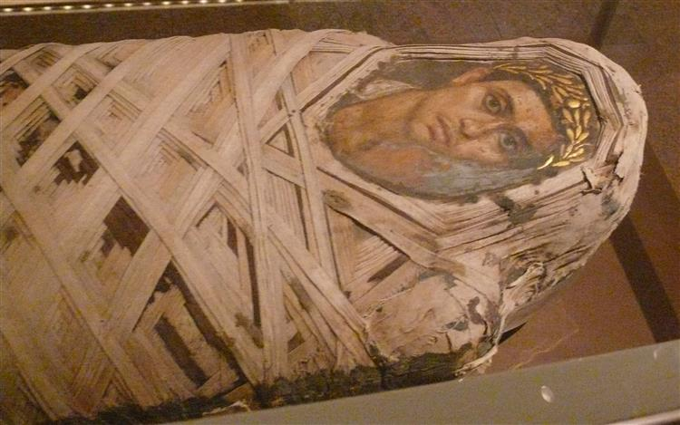 Mummy with An Inserted Panel Portrait of a Youth, 100 - Fayum portrait