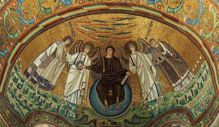 St. Vitalis, Archangel, Jesus Christ, Second Archangel and Bishop of Ravenna Ecclesius - Byzantine Mosaics