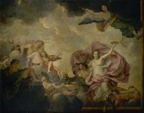 Mercure Amène Psyché Devant L'assemblée Des Dieux Sur L'olympe - Charles Le Brun