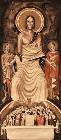 Throned Jesus over Congregation at the Altar - Werner Peiner
