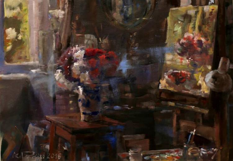 Kwiaty na biurku. - Czesław Jan Pyrgies