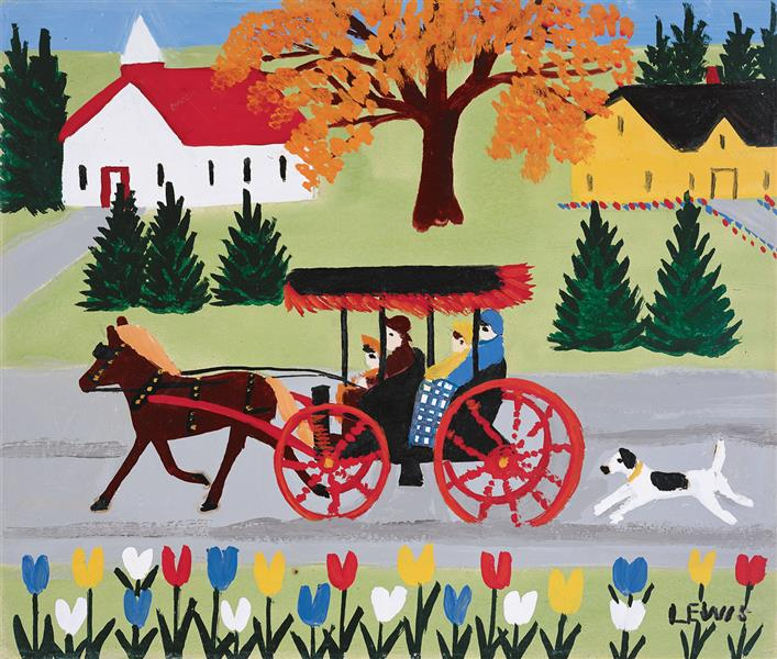 Carriage and Dog - Maud Lewis