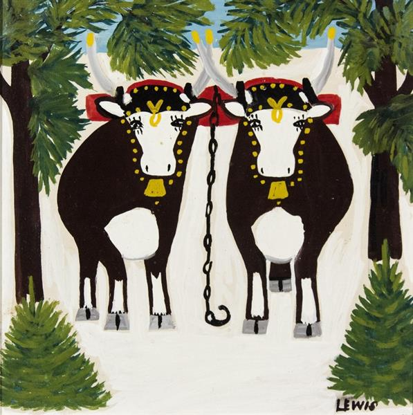Two Oxen in Winter with Three Legs - Maud Lewis