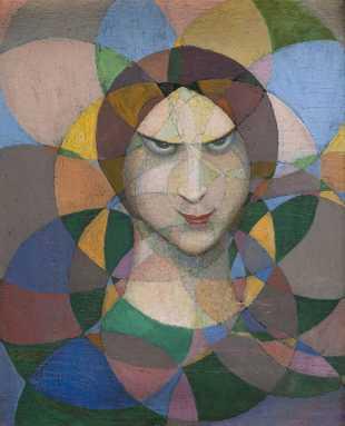 Tête de femme sur fond de rosaces, c.1918 - Boleslas Biegas