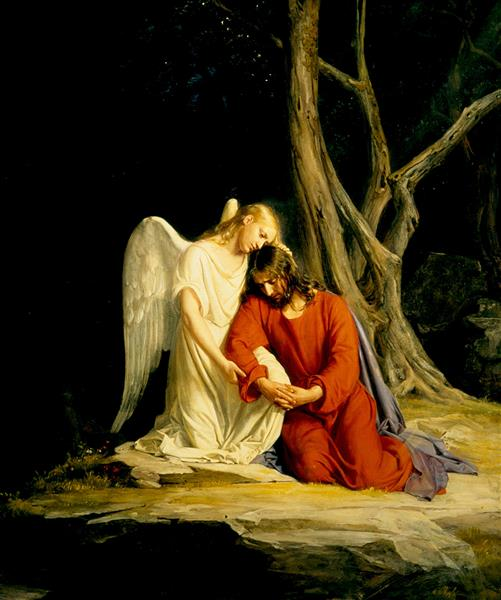 An angel comforting Jesus before his arrest in the Garden of Gethsemane, 1873 - Carl Heinrich Bloch