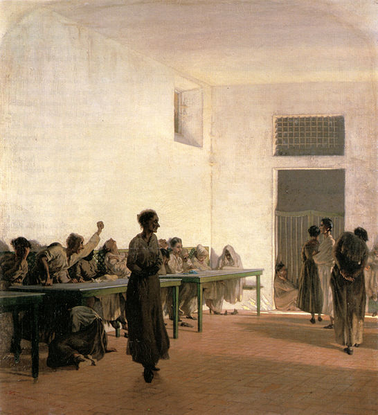 Ward of the madwomen at S. Bonifazio, 1865 - Telemaco Signorini