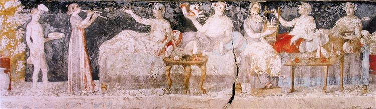 A Banquet Scene from a Macedonian Tomb of Agios Athanasios, Thessaloniki, Greece, c.350 BC - Ancient Greek Painting