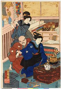 Fiori di Edo (a sinistra) - Utagawa Kuniyoshi