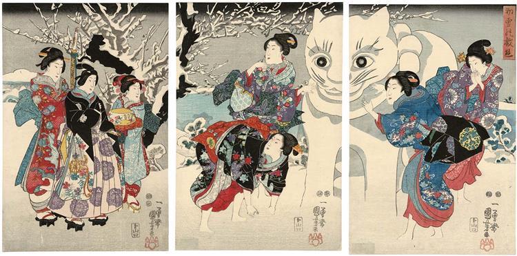 Amusements of the First Snowfall, c.1847 - c.1852 - Utagawa Kuniyoshi