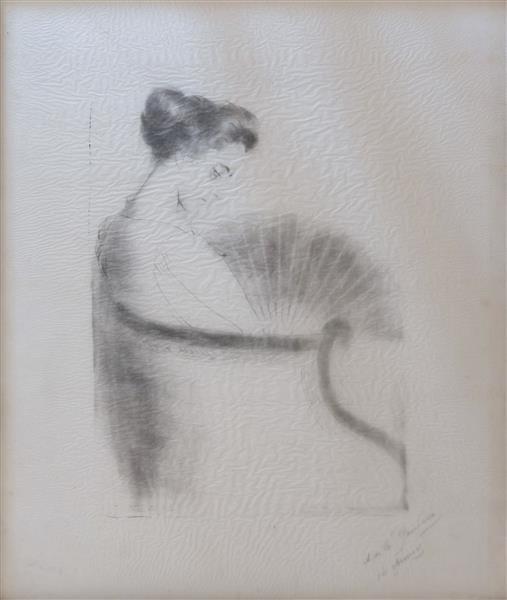 Anne Catherine (première Épouse De L'artiste) À L'éventail, 1895 - Antonio de La Gándara