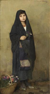Das Blumenmädchen, Signiert - Gustave Courtois