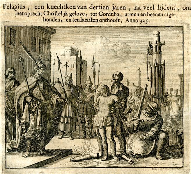 13 Year Old Pelagius Martyred, Cordoba, Spain, AD 925, 1685 - Jan Luyken