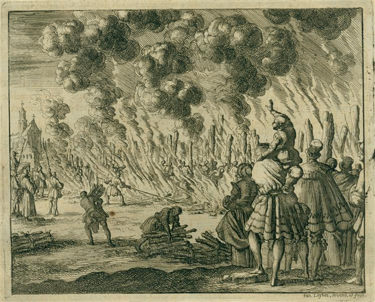 Burning of 224 Waldensians, Toulon, AD 1243, 1684 - Jan Luyken