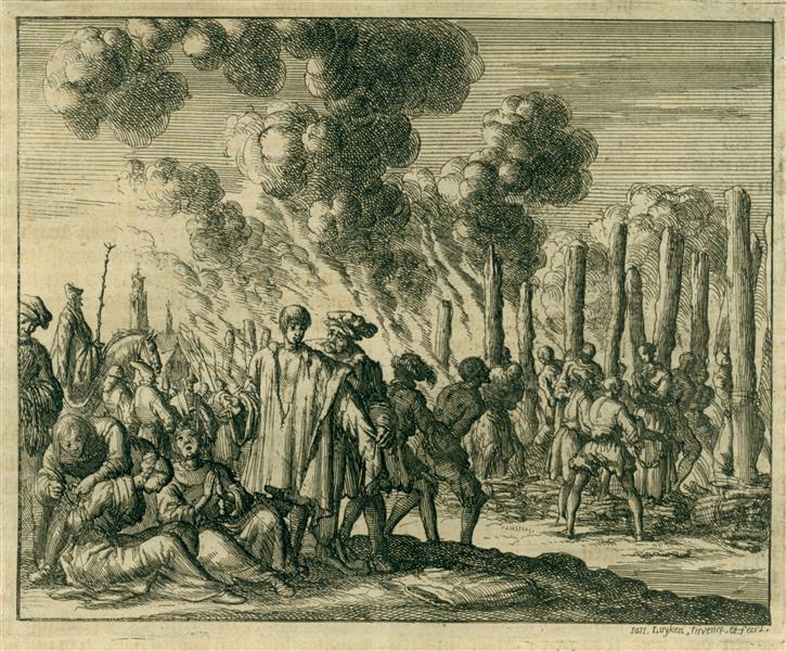Burning of About 80 Waldensians, Strasbourg, AD 1215, 1685 - Jan Luyken