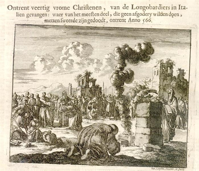 Martyrdom of Lombardian Christians, AD 566 - Jan Luyken
