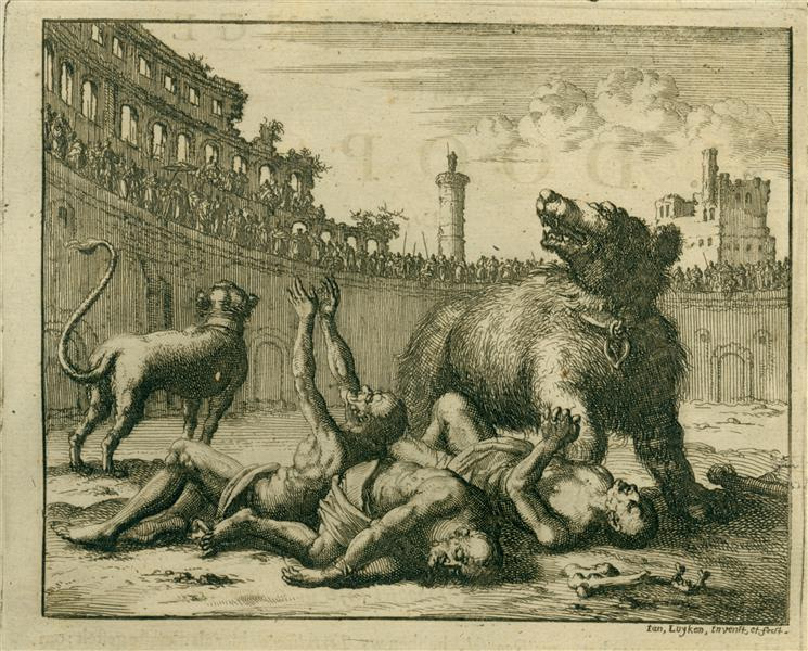 Tharacus, Probus, and Adronicus Thrown to Wild Animals, AD 290, 1685 - Jan Luyken