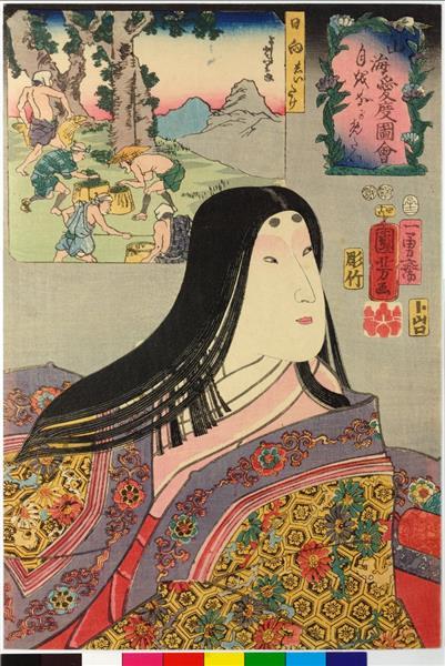 Wishing to gaze at the moon, 1852 - Utagawa Kuniyoshi