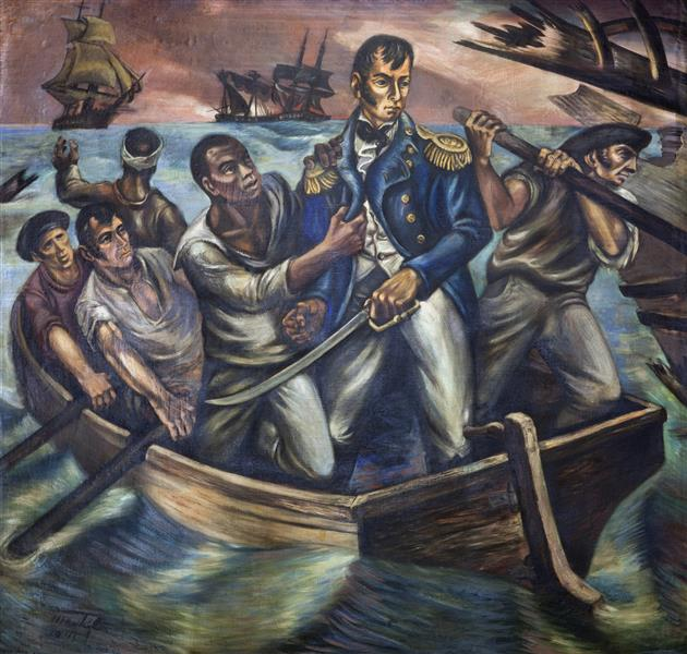 Cyrus Tiffany in the Battle of Lake Erie, September 13, 1813, c.1943 - Martyl Langsdorf