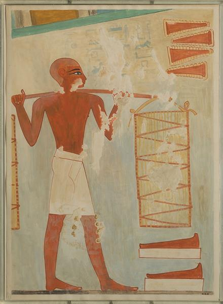 Man Carrying Loaves, Tomb of Rekhmire, c.1504 - c.1425 BC - Ancient Egyptian Painting