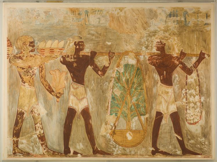 Men from Punt Carrying Gifts, Tomb of Rekhmire, c.1479 - c.1420 BC - Ancient Egyptian Painting