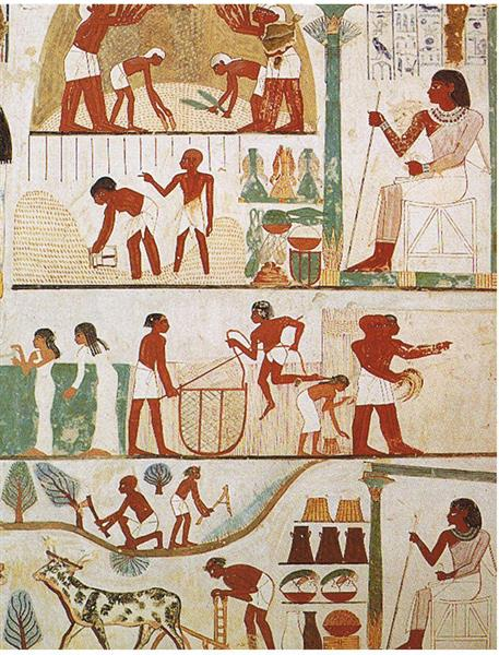Agricultural Scenes of Threshing, c.1390 BC - Ancient Egypt