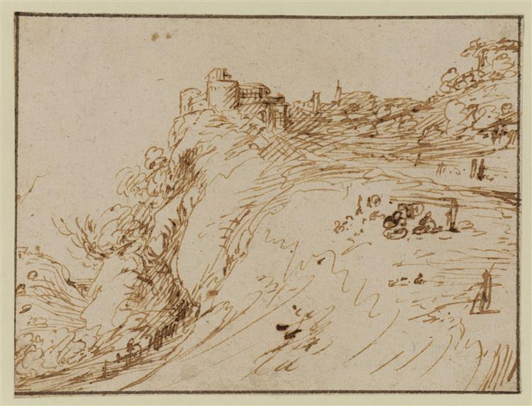Landscape with Building on Top of a Cliff and Figures - Адам Эльсхаймер